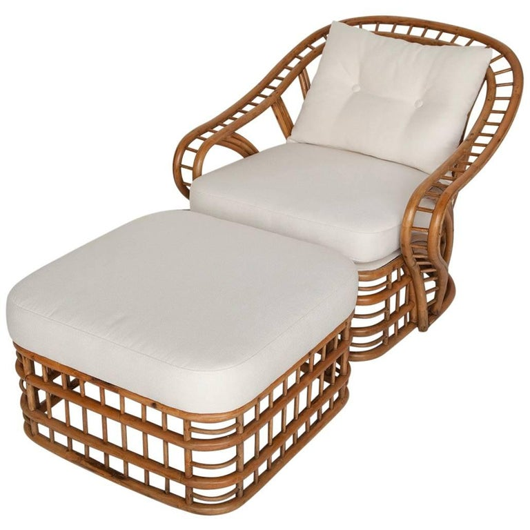 Fully Restored Bamboo Lounge Chair and Ottoman