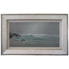 S.C. Yuan Oil Painting Pebble Beach California Coastline, circa 1964
