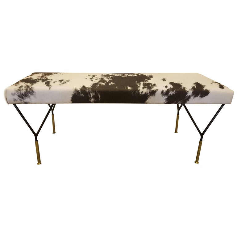 Italian Metal and Brass Midcentury Style Bench in Crème and Brown-Black Cowhide For Sale