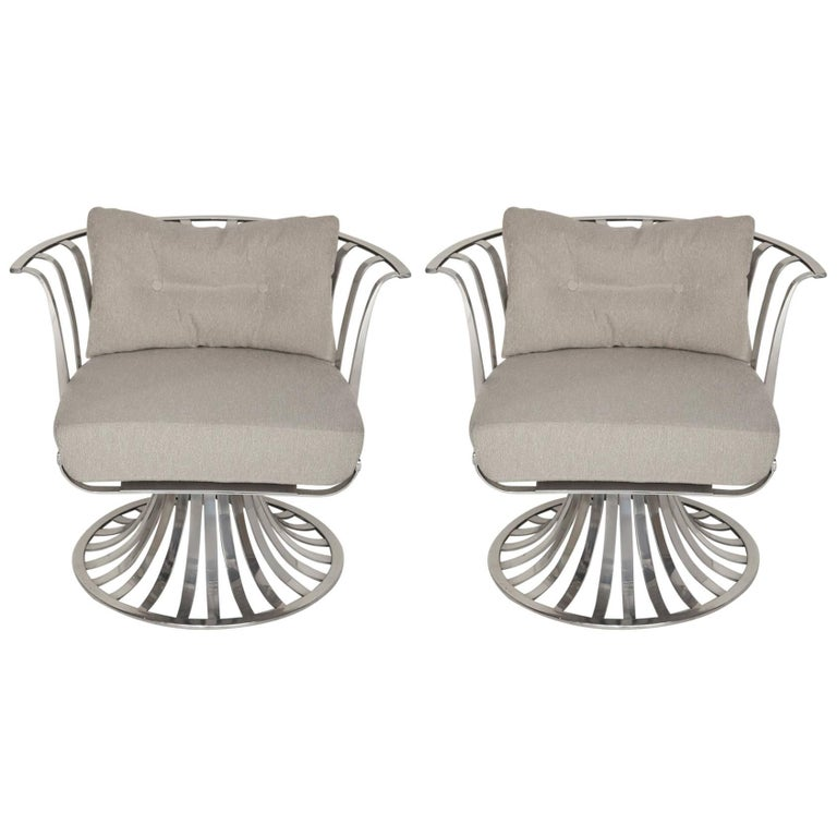 Pair of Polished Aluminum Armchairs by Russell Woodard, circa 1965