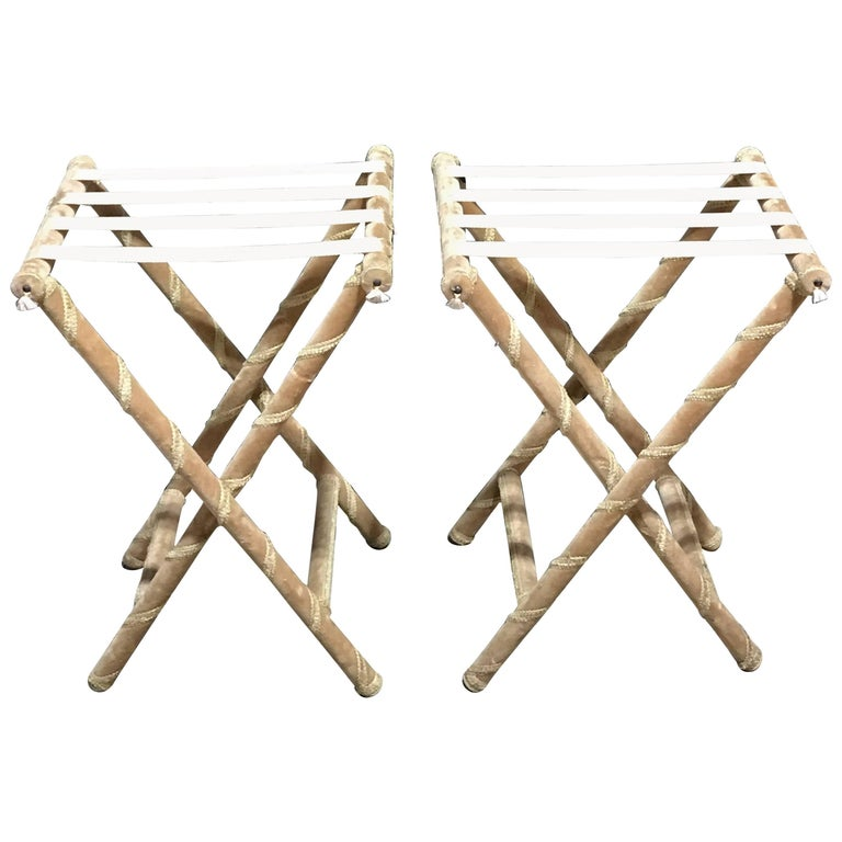 Pair of Upholstered Luggage Racks from Villa Artemis, Palm Beach For Sale