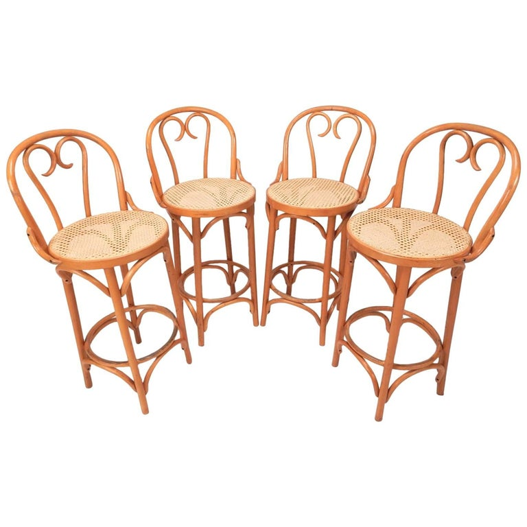 Mid-20th Century Thonet Style Bentwood Cane Bar Stools, Set of Four