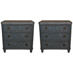 Pair of 19th Century Swedish Gustavian Painted Chests