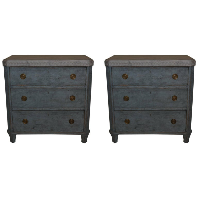 Pair of 19th Century Swedish Gustavian Painted Chests For Sale
