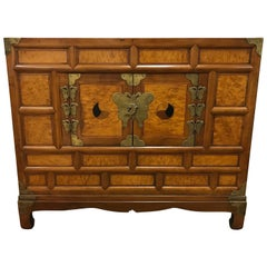 Antique Korean Tansu Chest Xi Dynasty Maple Wood Persimmon Inlay