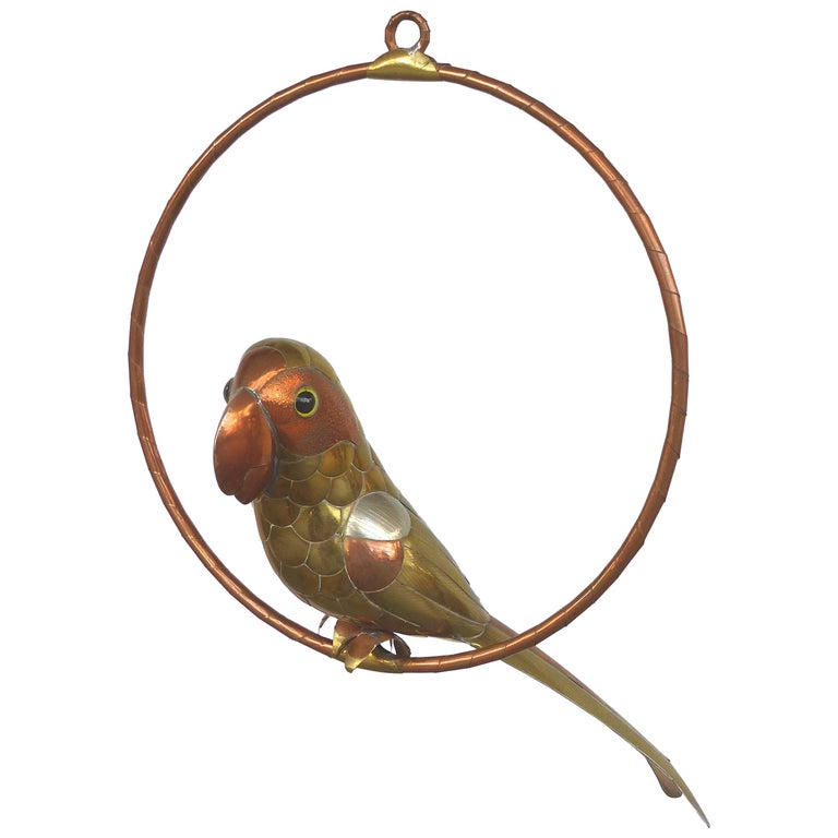 Small Sergio Bustamante Attributed Parrot Sculpture on a Round Perch