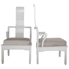 Pair of Low Asian Inspired Accent Chairs in the Manner of James Mont
