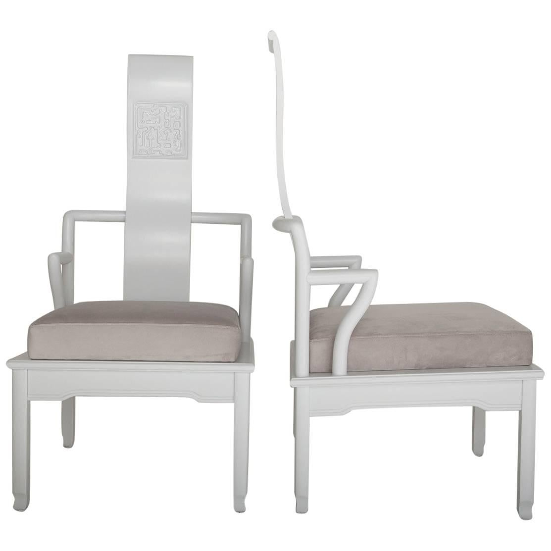 Exceptionnel Pair Of Low Asian Inspired Accent Chairs In The Manner Of James Mont For  Sale