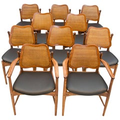 Rare Set of Ten Danish Modern Dining Chairs, Arne Vodder