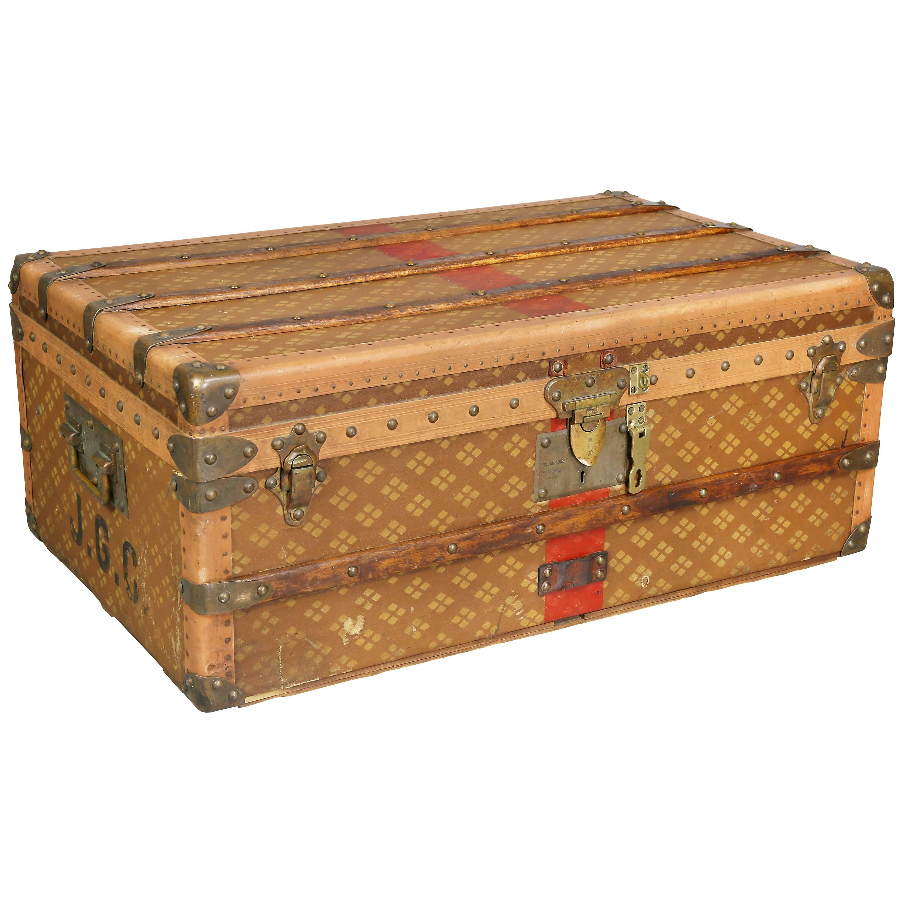 Boxes/chests Diplomatic Wood Bound Canvas Steamer Travel Trunk Old Luggage Suitcase Antiques