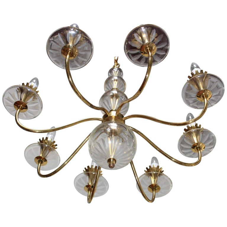 1950s Brass and Etched Glass Chandelier by Lightolier