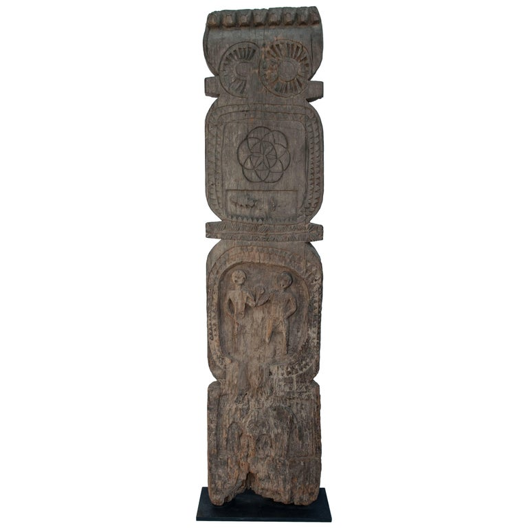 Tribal Marking Post from the Tharu of Nepal, Mid-20th Century with a Metal Base