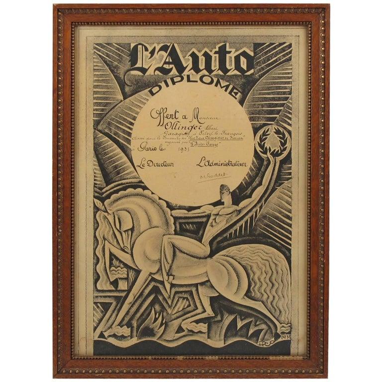 Maurice Pico Picauld French Automobile Magazine Art Deco Print Design
