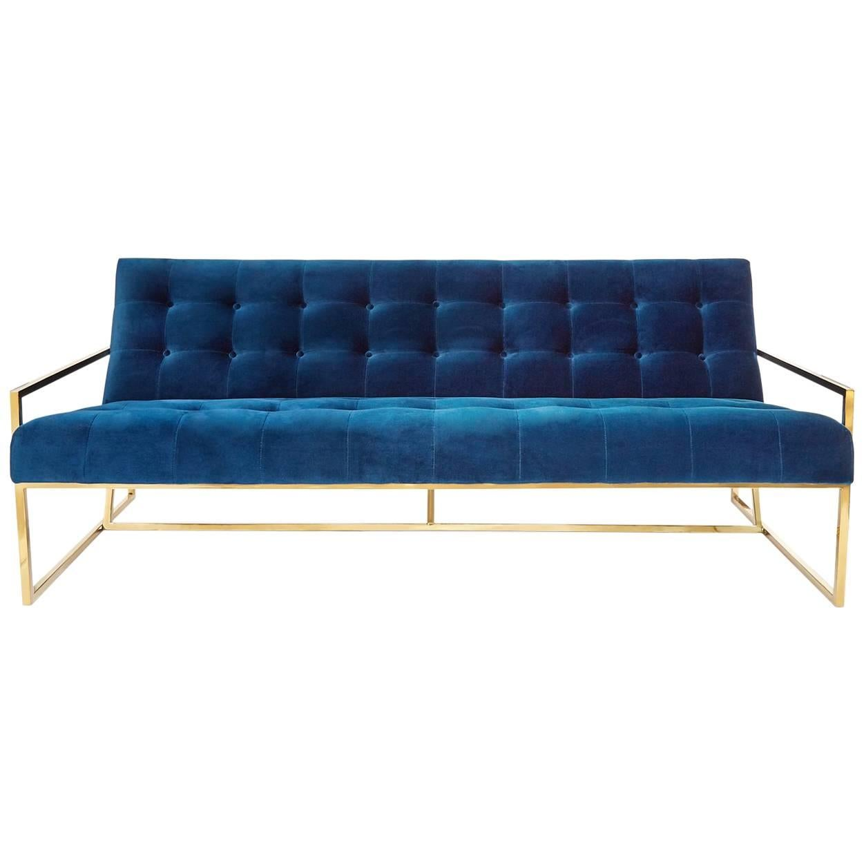 goldfinger velvet and brass apartment sofa for sale at 1stdibs rh 1stdibs com Green Sofas Apartment Rue Apartment Sofa