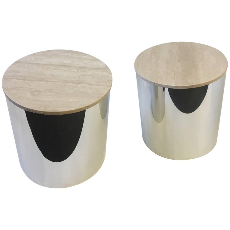 Pair of Italian Travertine and Polished Aluminum Drum Tables by Paul Mayen