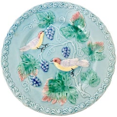 "Antique German Majolica ""Bird & Vine"" Turquoise Plate-Signed"