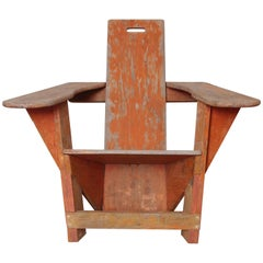 Constructivist American Westport Adirondack Lounge Chair, Early Cubist Form