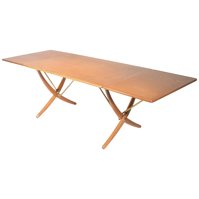 Early Hans Wegner Oak Dining Table Model AT-304 by Andreas Tuck in Denmark