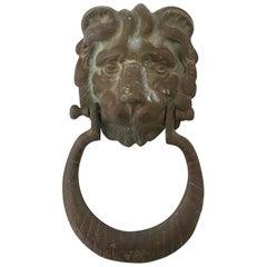Vintage Monumental Bronze Verdigris Lion Door Knocker