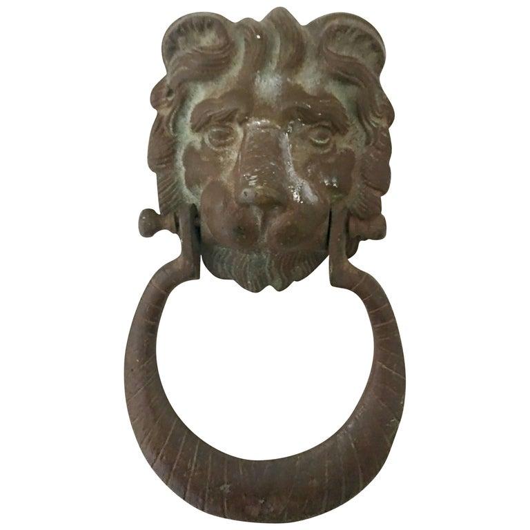 20th Century Bronze Verdigris Lion Door Knocker For Sale - 20th Century Bronze Verdigris Lion Door Knocker At 1stdibs