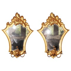 1700s Pair of  Gold Guilded Wall Mirrors and Scounces