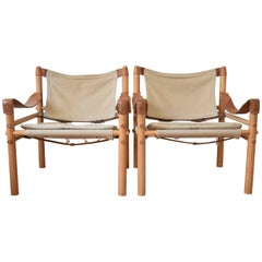Swedish Mid-Century 'Sirocco' Safari Chairs By Arne Norell from Aneby Sweden.