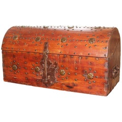 1700s Spanish Wooden Chest With Iron Decorations