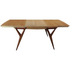 Mahogany & Oak Dining Table with extensions by  Louis Paolozzi for Rene Godfrid