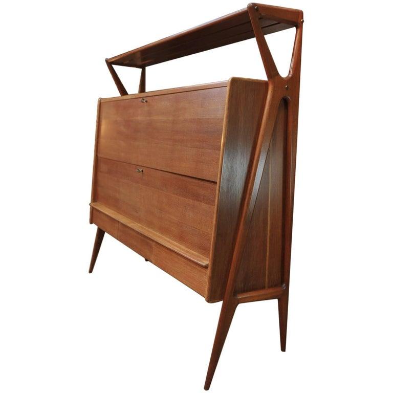Oak and Mahogany Bar Cabinet by Louis Paolozzi for René Godfroid