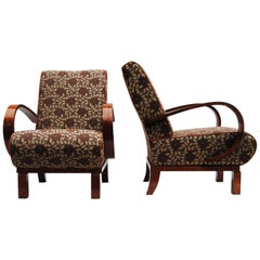 Completely restored pair of Art Deco Armchairs, New upholstery, high gloss