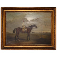 19th Century Racing Jockey Oil on Canvas Painting, Firmado Por Jhon E. Ferneley