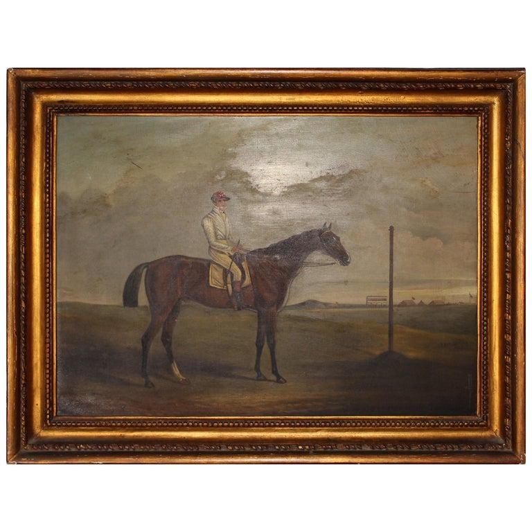 19th Century Racing Jockey Oil on Canvas Painting, Firmado Por Jhon E. Ferneley For Sale