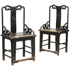 1800s Pair of Wooden Chinese Chairs with Open Backrest