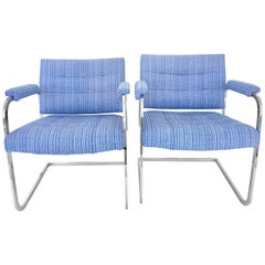 60'S Pair Of  Milo Baughman Style Chrome Upholstered Arm Chairs By, Patrician