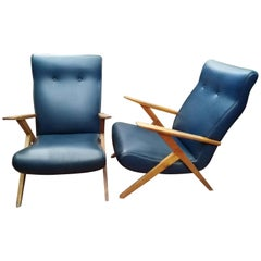 Pair Of Blue Leather Armchairs 1950's Design Italy