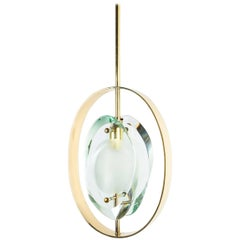 Max Ingrand Brass Glass Pendant Lamp Light Model 1933 for Fontana Arte, 1961