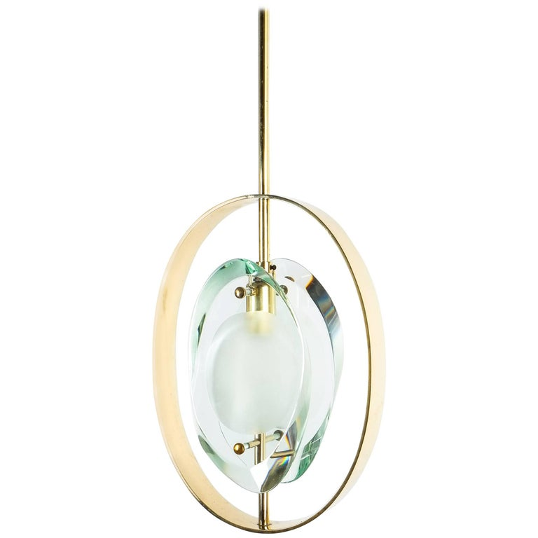Max Ingrand Brass Glass Pendant Lamp Light Model 1933 for Fontana Arte, 1961