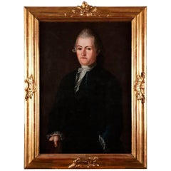 1700s Portrait of a Gentleman in a Black Jacket with Gold Guilden Wooden Frame