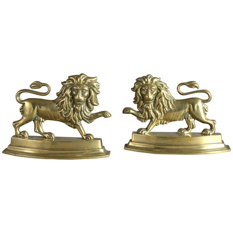 19th Century Pair of Brass Lion Doorstops