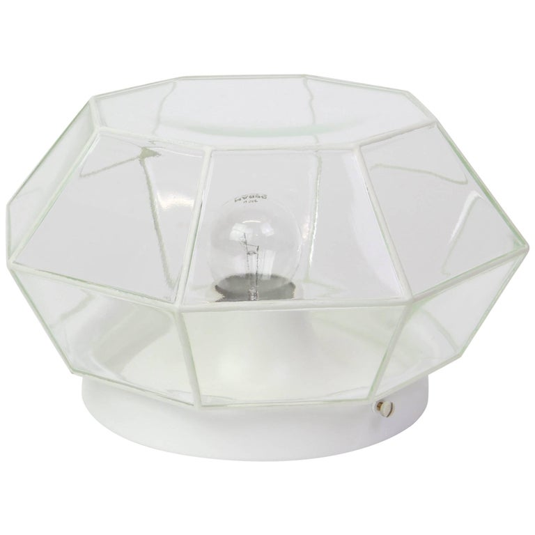 White Clear Glass Flush Mount by Limburg, Germany, 1960s