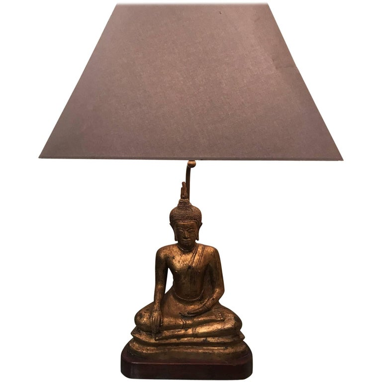 French 1970s Gilded Metal Seated Buddha Lamp
