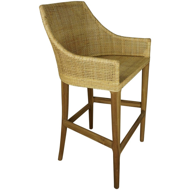 Wooden Teak And Rattan Bar Stool