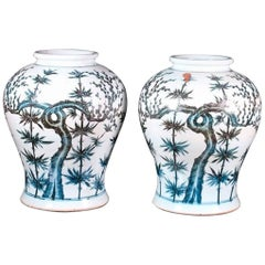 Pair of Blue Cobalt Enameled Chinese Vases