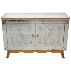Midcentury Etched, Mirrored French Sideboard Cabinet