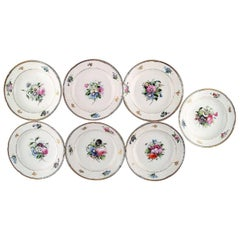 7 antique b&g bing & grøndahl deep plates. Hand painted with flowers