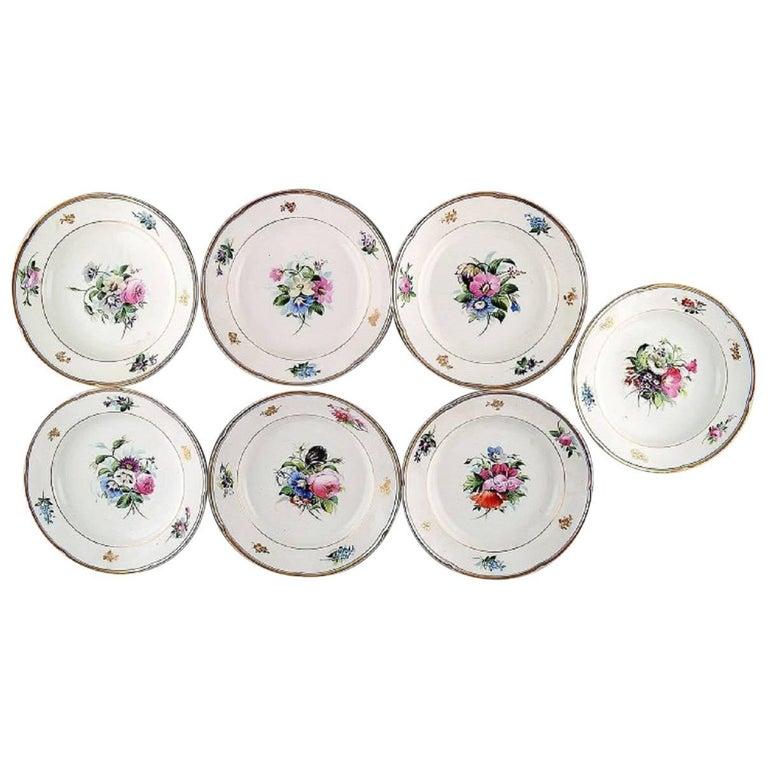 7 antique b&g bing & grøndahl deep plates. Hand painted with flowers