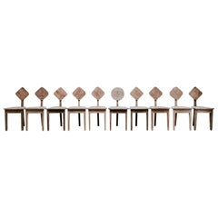 Set of Ten Three-Legged Wooden 1950s Chairs
