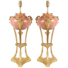Pair Louis XVI Style Classical Marble Lamps