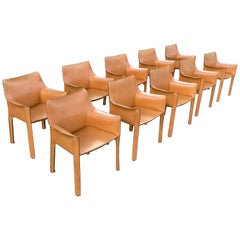 Set of Ten Cab Dining Chairs by Mario Bellini for Cassina in Cognac Leather