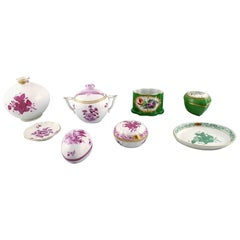 8 Herend, Hungary lidded vases / vases / dishes decorated with flowers